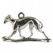 Greyhound Dog 3D Sterling Silver Charm